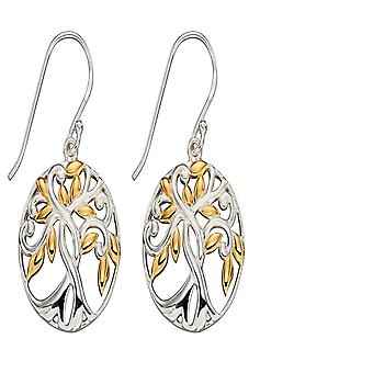 Elements Silver Sterling Silver Gold Tree Of Life Earrings E5808