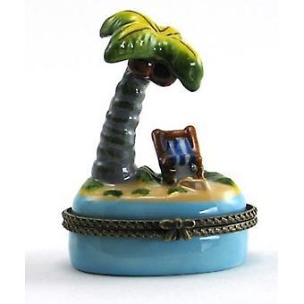 Palm Tree Beach Chair Trinket Box Porcelain Hinged Box
