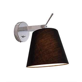 Wall-mounted lamp Pixi max. 60W IP20 incl. On/off switch black fabric