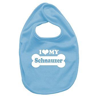 Newborn turquoise bib fun2043 i love my schnauzer