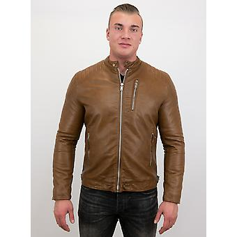 Fake Leather Jacket - Motor Jack - Brown
