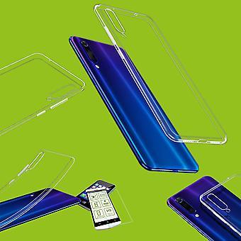 Für Xiaomi Mi 9 Lite Silikoncase TPU Transparent + 0,26 H9 Glas Tasche Hülle Schutz Cover