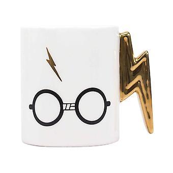 Harry Potter Shaped Mug Glasses Lightning Bolt Logo new Official White Boxed