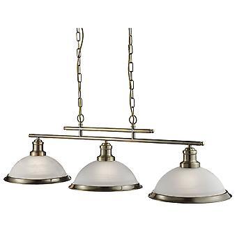 Sökarljus Bistro antik mässing 3 ljus taket Bar hänge med syra glas nyanser
