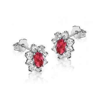 Eternity 9ct White Gold Red And White Cubic Zirconia Oval Small Cluster Stud Boucles d'oreilles