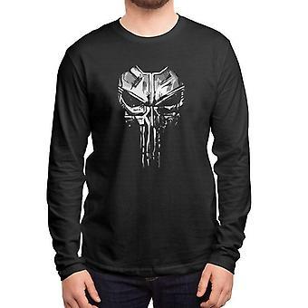 Skull full sleeves black t-shirt