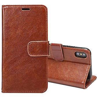 Für iPhone XS, X Brieftasche Fall, elegante Pferd Textur Abschirmung Lederbezug, Kaffee
