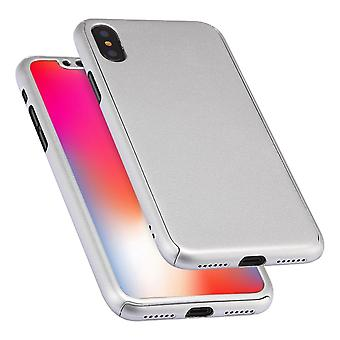 Til iPhone XS Max Case Silver 360 graders full cover pc cover, hærdet glasfilm