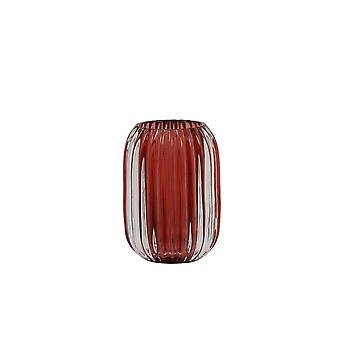 Light & Living Tealight 9.5x13cm - Pertu Clear Glass And Burgundy