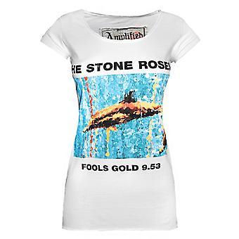 Ενισχυμένο πέτρα τριαντάφυλλα ανόητοι χρυσό 9,53 Γυναίκες 's Λευκό T-Shirt