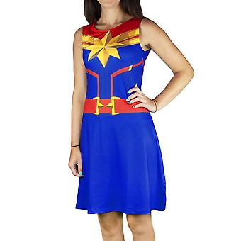 Captain Marvel Super Heroine Costume Women's Sleeveless Fancy Dress in Blue