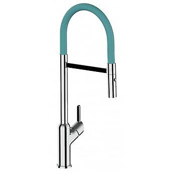 Single-lever Kitchen Sink Mixer met turquoise spout en 2 Jets Douche - 524