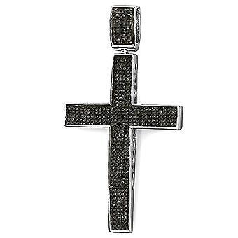 Dazzlingrock Collection 1.20 Carat (ctw) Black Diamond Micro Pave Men's Hip Hop Religious Cross Pendant 1 1/4 CT Sterling Silver