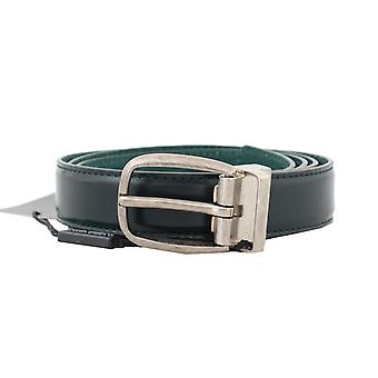 Dolce & Gabbana Green Leather Silver Buckle Belt