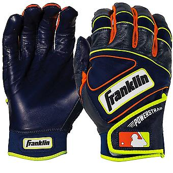 Franklin Adult Powerstrap MLB Batting Gloves - Navy/Neon Orange/Optic Yellow
