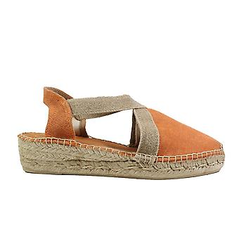 Toni Pons Verdi-V Orange Fabric Pull On Wedge Heel Espadrille Shoes