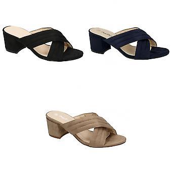 Anne Michelle Womens/Ladies Mid Heel X Strap Vamp Shoes