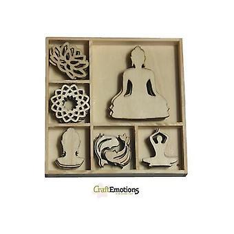 CraftEmotions Wooden ornament box Happiness - Buddha 35 pcs - box 10,5 x 10,5 cm