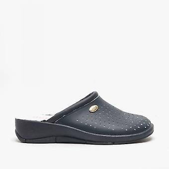 DEK Angie Ladies Leather Mule Clogs Sandals Navy