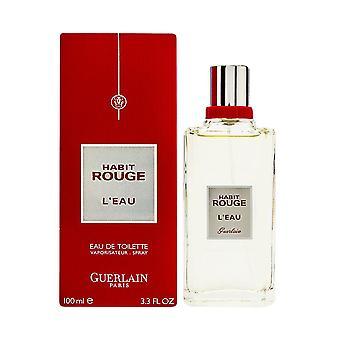 Habit rouge l'eau by guerlain for men 3.3 oz eau de toilette spray