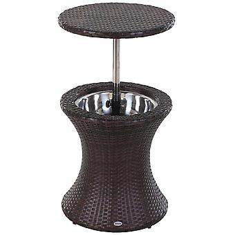 Outsunny Outdoor Patio Party Cooler Table Beer Brown