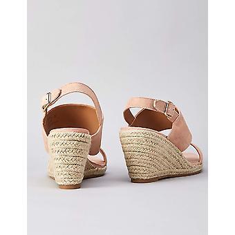Brand - etsi. Women's Leather Wedge Kantapää Espadrille Kengät Pinkki), US 8,5
