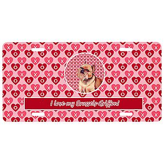 Carolines Treasures LH9134LP Bruxelles Griffon Valentine-apos;s Love and Hearts Licen