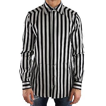 Dolce & Gabbana Silver Black Cotton Silk Shirt