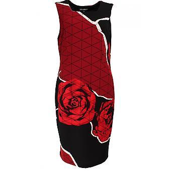 Picadilly Striking Red & Black Print Dress