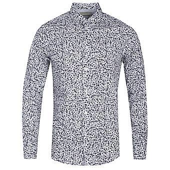 Diesel S-Blu Camicia Slim Fit Skull Print camisa de manga larga en blanco y azul marino