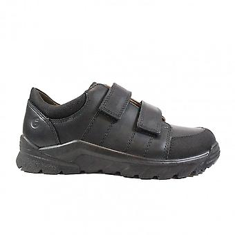 Ricosta Johno 4730800-090 Wide Fit Negro Cuero Boys Rip Tape Zapatos Escolares