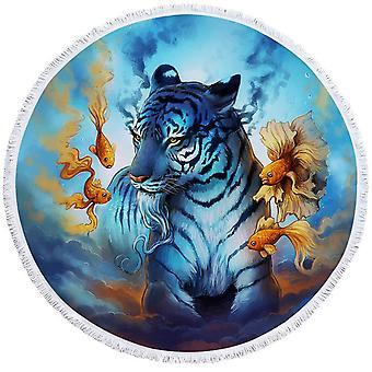Sininen tiikeri ja kala ranta pyyhe
