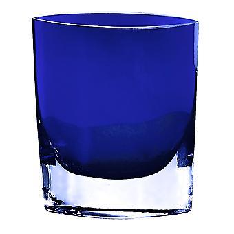 """8"""" Mouth Blown Crystal European Made Cobalt Blue Pocket Shaped Vase"""