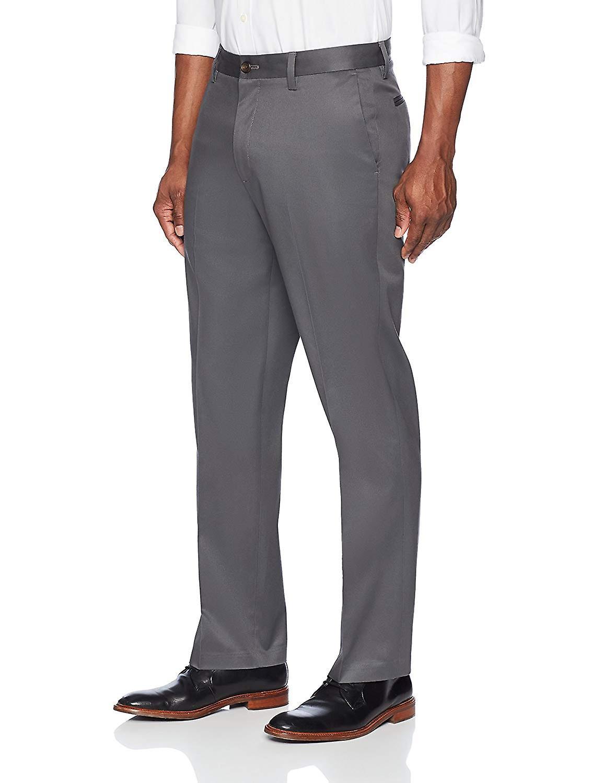 BOTONADO ABAJO Hombres's Relaxed Fit Flat Front Stretch No Hierro Vestido Chino Pantalón,...