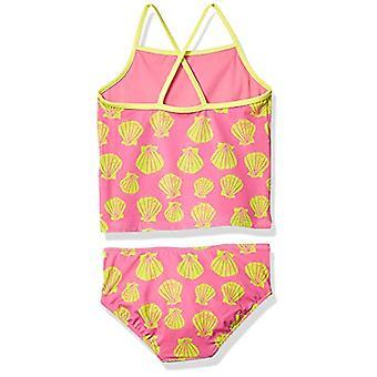 Täplikäs seepra tytöt' tankini uimapuku, vaaleanpunainen kuoret, X-small (4-5)