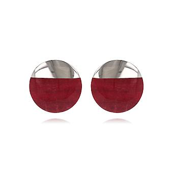 ADEN 925 Sterling Silver Coral Round Shape Earrings (id 4398)