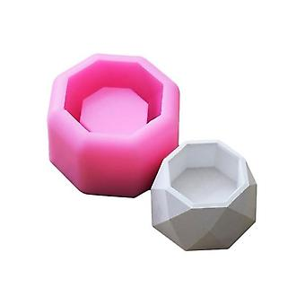 Creative Geometric Polygonal Concrete Flower Pot Vase Silicone Mould - Office Decoration DIY Clay Cementsilica Silicone Mold