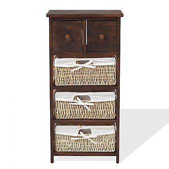 Rebecca Furniture Cassettiera 3 Baskets 2 Green Wood Drawers Brown 80x40x27