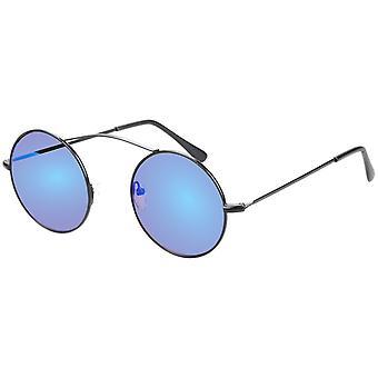 Sunglasses Unisex black with blue-green mirror lens (AZ-17-603)