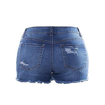 Instar Mode Womens Mid Waist Casual Denim Shorts (JS26111B Medium Denim, Small)