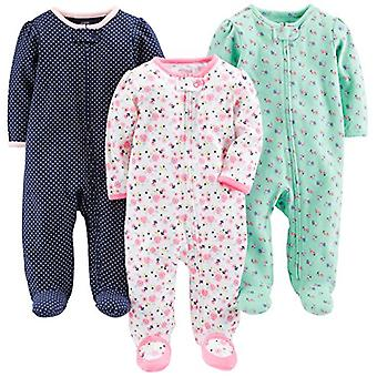 Enkle gleder av Carter's Baby Girls' 3-Pack Sleep and Play, Pink Floral, Blå ...