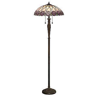 2 Lâmpada de Piso Leve Vidro Tiffany, Tinta de Bronze Escuro com Destaques, E27