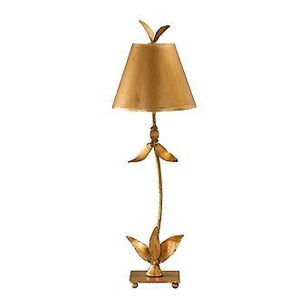 Elstead Red Bell - 1 Lampe de table légère Feuille d'or Feuilles florales Design, E27