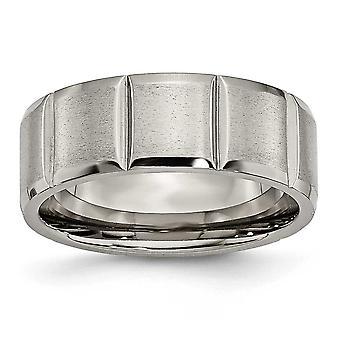 Titanium Graveable Gepolijst en satijn Notched 8mm Grooved Satin Band Ring Sieraden Geschenken voor vrouwen - Ring Size: 7 tot 13