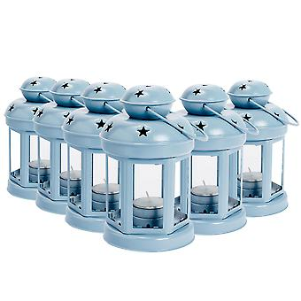 Nicola Spring Candle Lanterns Tealight Holders Metal Hanging Indoor Outdoor - 16cm - Blue - Set of 6