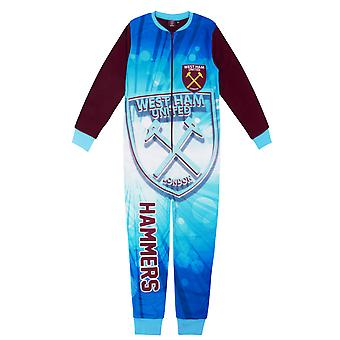 West Ham United Boys Pyjama All-In-One Sleepwear Kids OFFICIAL Gift