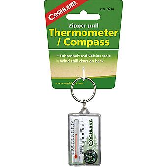 Coghlans Zipper Pull Thermometer/Compass (C9714)