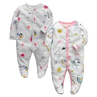 Newborn Baby Sleepers Pajamas Babies Jumpsuits 2 Pcs/lot Long Sleeve 0-12 Months