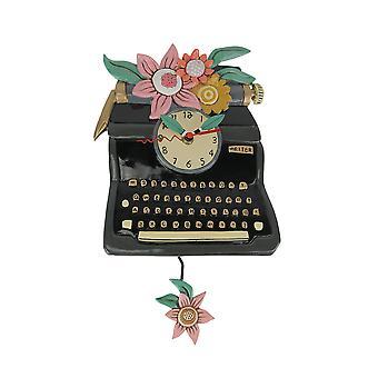 Allen Designs Vintage Black Antique TypeWriter Floral Accented Pendulum Wall Clock
