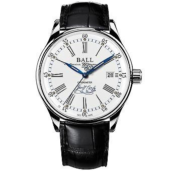 BALL Endeavour Chronometer Automatic White Dial Black Leather Strap Mens Watch NM3288D-LL2CJ-WH